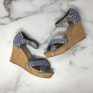 TOMS Canvas Woven Wedge Sandals Size 8.5